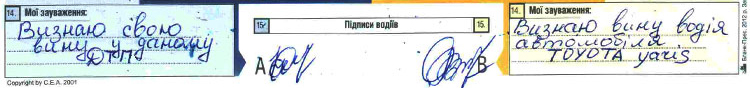 Поэтапное оформление европротоколу п. 14 15