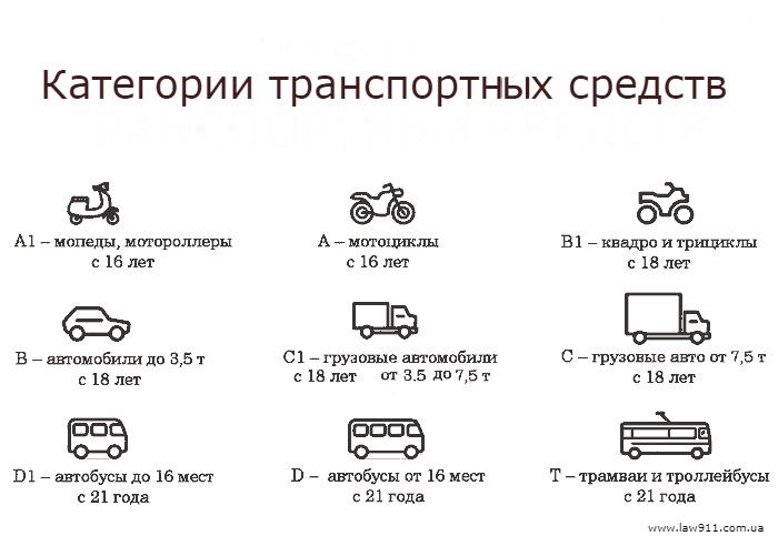 Категории транспортных средств в Украине